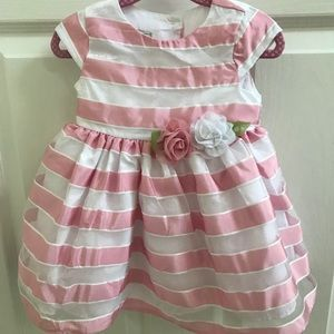 White and Pink Stripe Sheer Dress with Full Skirt
